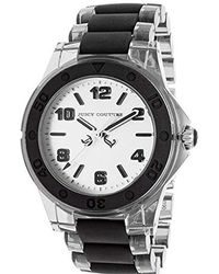 Juicy Couture - 1900870 Rich Girl Clear Plastic Bracelet With Black Silicone Inlay Watch - Lyst