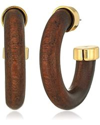 Kenneth Jay Lane - Wood Large Hoop Earrings - Lyst