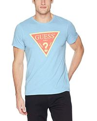 bb8844f8105d Guess Short Sleeve Riviera Stripe Crew Neck Shirt in Blue for Men - Lyst