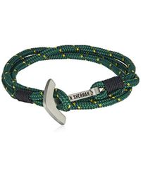 Ben Sherman - Green And Yellow Anchor Closure Wrap Bracelet - Lyst