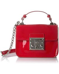 Steve Madden - Handbag, Evie, Top Handle Patent Faux Leather Structured Flap Crossbody With Push Lock Closure - Lyst