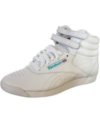 3f60822d1b5 Lyst - Reebok White   Blue Classic Freestyle Lo Og Sneakers in White