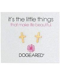"Dogeared - ""it's The Little Things"" It's The Little Things Simple Cross Earring Studs - Lyst"