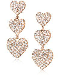 Kate Spade - S Yours Truly Pave Heart Triple Drop Earrings - Lyst