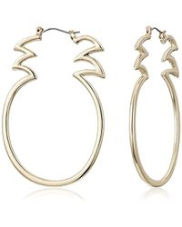 Betsey Johnson - S Gold Tone Open Pineapple Hoop Earrings - Lyst
