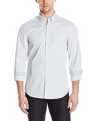 Kenneth Cole - Button Down Collar Slim Check Shirt - Lyst