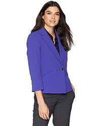 bfd26b5975e6b Kasper - 1 Button Notch Collar Drapey Crepe Jacket - Lyst