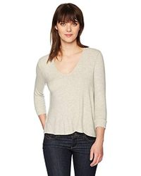 Three Dots Brushed High Low Sweater - Natural