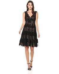 Vera Wang Sleeveless Double V Neck Lace Cocktail Dress - Black