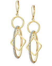 Anne Klein - Gold Tone Drop Earrings Hoop, Size: 0 - Lyst