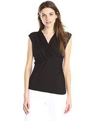 Lark & Ro - Short Sleeve Crossover Knit Top - Lyst