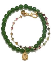 Satya Jewelry - Jade And Tourmaline Gold Ganesha Bracelet Set, Multi, One Size - Lyst