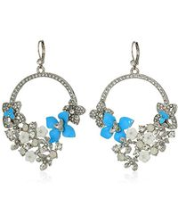 Betsey Johnson - Blue La La Multi Flower Drama Gypsy Drop Earrings - Lyst