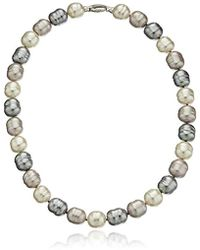 Majorica - S 14mm Baroque Ss Necklace - Lyst