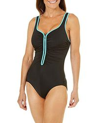 c0881f53ce0 Lyst - Reebok Zig Zag Zip Front Chlorine Resistant Tummy Control One ...