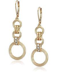 Napier - Gold Long Drop Earrings, 0 - Lyst