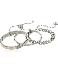 Guess - Bracelet Items 3 Pc Bracelet Set W Stones, Silver, One Size - Lyst