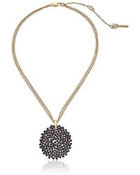 """Kenneth Cole - Jet Woven Faceted Bead Round Pendant Necklace, 20"""" - Lyst"""