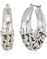 Napier - Silver-tone With Antique Hoop Earrings - Lyst