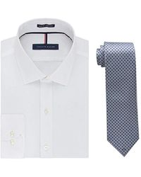 Tommy Hilfiger - Slim Fit Solid Dress Shirt And Core Micro Tie Combo - Lyst