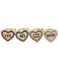 Betsey Johnson - S Conversation Heart Ring Set - Lyst