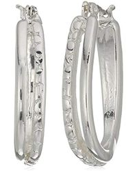 Napier - Silver-tone Clickit Hoop Earrings - Lyst