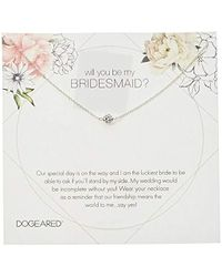 """Dogeared - Will You Be My Bridesmaid Flower Card Pave Sparkle Ball Chain Necklace, 16"""" + 2"""" Extension - Lyst"""