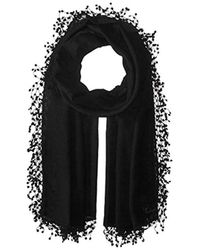 La Fiorentina - Wool-silk Blend Scarf With Lace Pom Fringe - Lyst