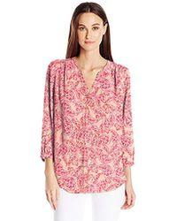 NYDJ - Blouse W/ Pleated Back (pismo Paisley Blaze) Blouse - Lyst