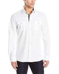 Kenneth Cole Reaction - Long Sleeve Solid Military Shirt - Lyst