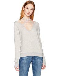 6a8e76f6ab4f7 Lyst - Pam   Gela Womens Cold-shoulder Distressed Sweatshirt in Green