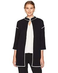 Kasper - Stand Collar Topper Sweater With Contrast Detailing - Lyst