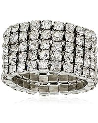 """Guess - """"basic Look Of 4 Band Chevron With Stones Ring, Size 7 - Lyst"""