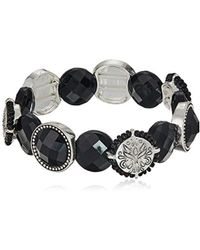 Napier - Jet Circle Stretch Bracelet - Lyst