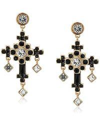 Guess - S Stone Ornate Cross Drop Earrings - Lyst