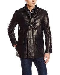 Cole Haan - Smooth Lamb Leather Car Coat - Lyst