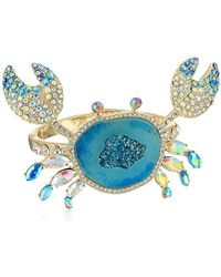 Betsey Johnson - Crabby Couture Blue Stone Crab Cuff Bracelet, One Size - Lyst