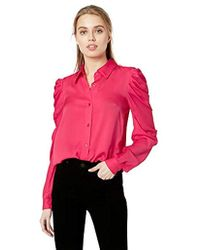 MILLY - Stretch Silk Long Sleeve With Ruffle Detail Charlie Top - Lyst