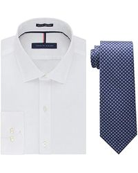 facfd3d1f Tommy Hilfiger - Slim Fit Solid Dress Shirt And Core Micro Tie Combo - Lyst