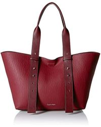 Calvin Klein - Jane Bubble Lamb Belted East/west Large Tote - Lyst