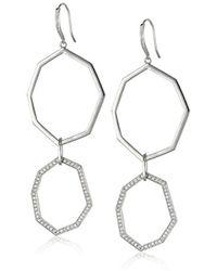 Ron Hami - Geo Sterling Silver White Topaz Double-drop Earrings - Lyst