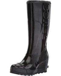 Sorel - Joan Rain Wedge Tall Gloss (black/sea Salt) Women's Waterproof Boots - Lyst