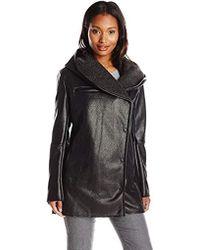 Sam Edelman - Sydney Hooded Sherpa Coat, Black, Large - Lyst