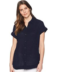 Three Dots - Double Gauze Button Up Tunic - Lyst