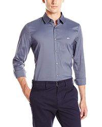 Lacoste - City Long Sleeve Stretch Solid Poplin Woven Shirt - Lyst