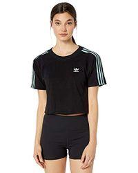 2179e1b2184 adidas Originals Tape Longsleeve Crop T-shirt in Black - Lyst
