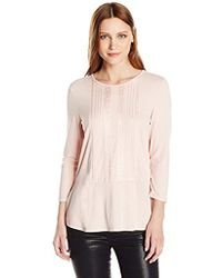 Adrianna Papell - Solid 3/4 Sleeve Embroidered Peplum, - Lyst