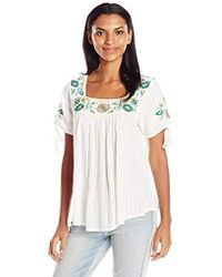Lucky Brand - Short Sleeve Drop Needle Embroidered Top, Marshmallow, Small - Lyst