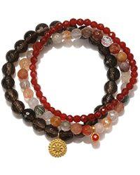 Satya Jewelry - Smokey & Rutilated Quartz, Carnelian Gold Plate Mandala Stretch Bracelet - Lyst