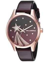 Karl Lagerfeld - Janelle Quartz Stainless Steel And Leather Watch, Color: Rose Gold-tone, Red (model: Kl1637) - Lyst